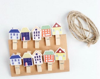 10pcs Cute House Wooden Pegs, Peg Clips - PJ105
