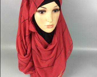 Red Large Maxi Long Wide Striped Viscose Scarf/Hijab Shawl/Wrap