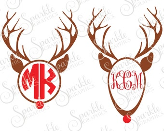 Rudolph Monogram Cut File Christmas SVG Deer Red Nose Reindeer Santa Clipart Svg Dxf Eps Png Silhouette Cricut Cut File Commercial Use SVG