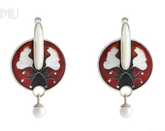 The Avatar Earrings with Nacre (Mother of Pearl), Natural Pearls and Cloisonné Enamel in Silver