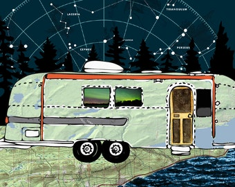 """Northern Lights Airstream Camper 14"""" x 10"""" Camping, State Parks, Maps, Minnesota, Grand Marais, North Shore"""