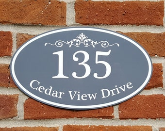 """Custom Home Address Aluminum Oval 12"""" x 7"""" Personalized House Number Plaque"""