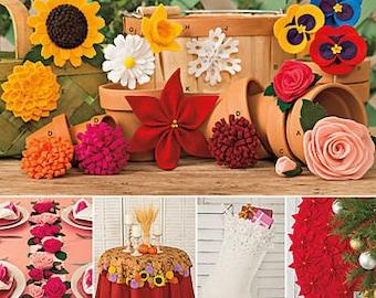 Sewing Pattern for Decorative Felt Flowers , Simplicity 1027, Flower Pattern, Sun Flower, Poinsettia, Rose Patterns