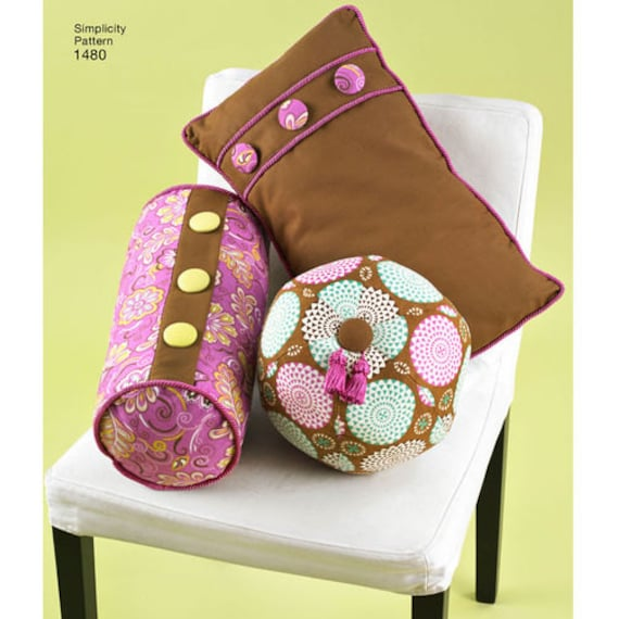 Decorative Pillow Sewing Pattern : Sewing Pattern for Decorative Pillows, Neck Roll Pillows, Simplicity 1480, Round Pillows, Square ...