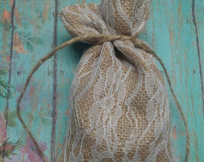 """Burlap and Lace Favor Bag,  4"""" x 7""""  Lace Burlap Bag. Wedding Favor Bag, Lace Burlap Gift Bag"""