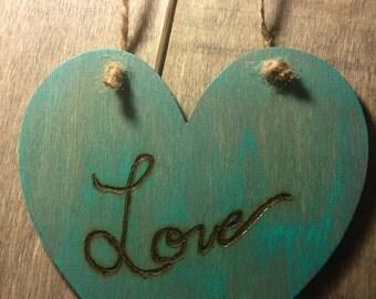 Love wood burned hanging heart