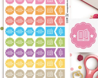 Books Assorted Shapes Planner Stickers | Reading | Reminders | Hexagons