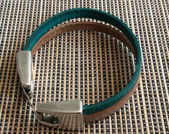 Leather Bracelet with metal closure