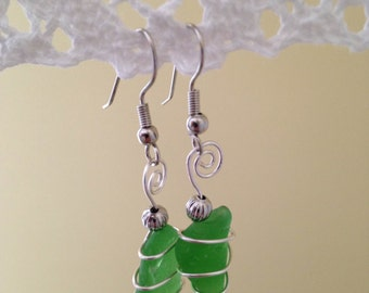 Green Beach Glass Earrings