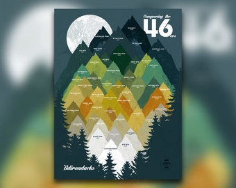 Conquering the 46 - ADK 46ers Print - Adirondacks, NY - Mountain Graphic - High Peaks - Hiking Decor Poster - New York Wall Art