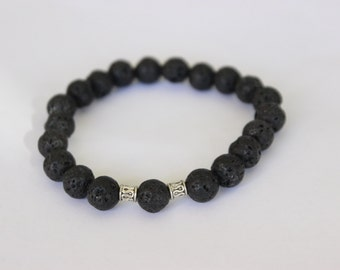 Genuine Lava Rock and Sterling Silver Beaded Bracelet