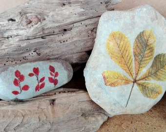 AUTUMN DUO in stone, leaves, decoration centerpiece PAPERWEIGHT