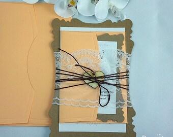 Romantic Wedding Invitation Suite (25), Special Wedding İnvitation, Couture Invitation, Lace Invitation