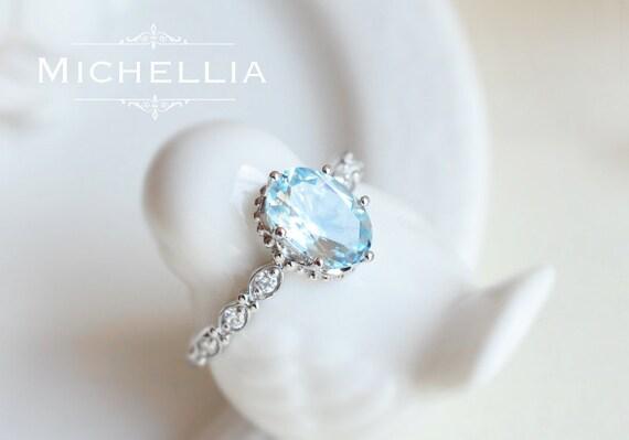 Vintage Inspired Aquamarine Engagement Ring with Diamond