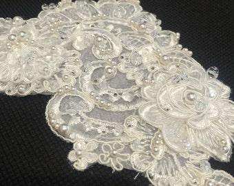 "Handmade, Swarovski embellished, Lace ""Sophia"" hair piece"