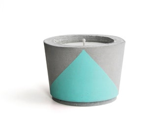 Turquoise painted Concrete - Scented Soy Wax Candle *choose your fragrance
