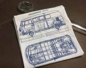 Classic Volkswagen Microbus Blueprint T-shirt.  Full front print on a 100% cotton preshrunk Tee. White shirt, navy blue print.