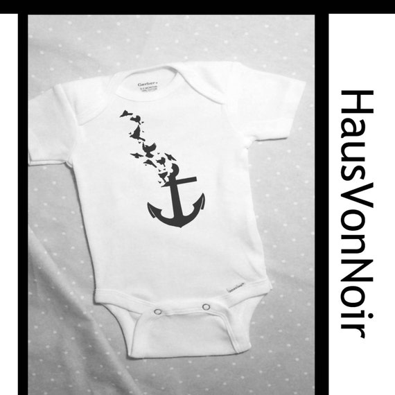 Nautical themed baby clothes Anchor with birds by HausVonNoir