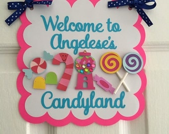 Candy land theme welcome door sign