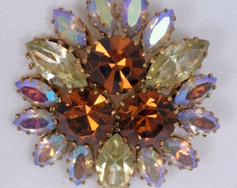 Antique Brooch amber jeweled marked Austria quality faceted hinged stones 1940's