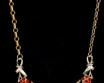 """16"""" Necklace adjustable ruby red stones gold metal 1960's"""