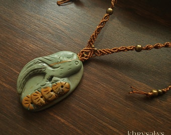 Macramé necklace with carved Jasper with bird