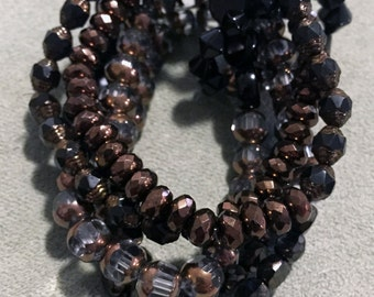 Copper & Black Glass Bead Multi Strand Stacked Bracelet