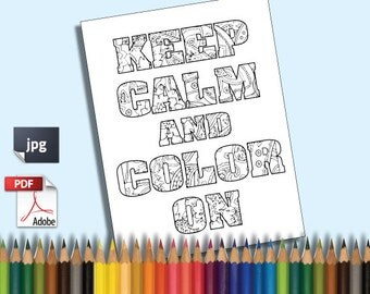 keep calm and color on printable adult coloring book page instant downloadable jpg pdf curse word - X Rated Coloring Books