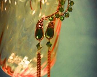 Emerald Green Swarovski Crystal Dangle Earrings