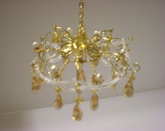 1/12 - Minitature - Crystal- Chandelier -Dollhouse - Amber- Teardrops Hand Made