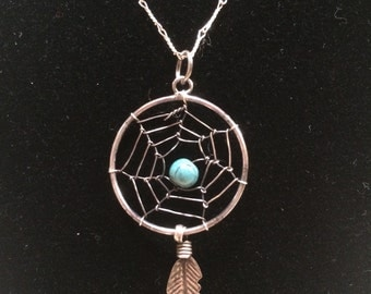 Sterling Silver Dream Catcher Necklace and Link Chain