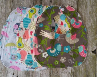 RTS set of 3 traditional baby girl bibs with snap closures and Terry cloth backing