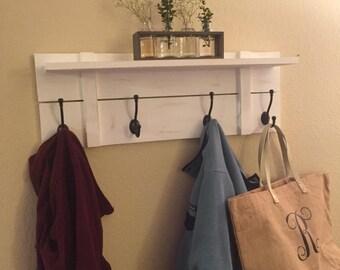 Rustic Handmade Wall Shelf with Hooks