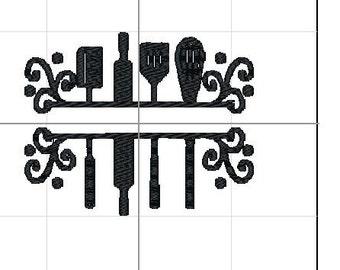 Kitchen utensil, embroidery name, 4x4