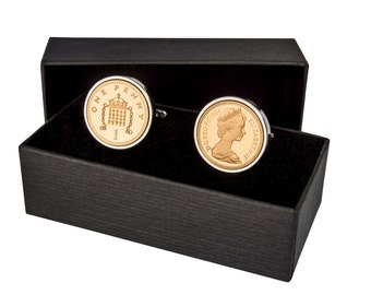 one penny coin cufflinks - Dates 1971-2010
