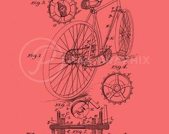 Vintage Bicycle Blue Print, Printable Art Instant Download, Printable Poster Art