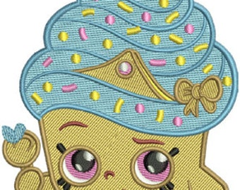 Shopkins Cupcake Queen Inspired PES Machine Embroidery Design