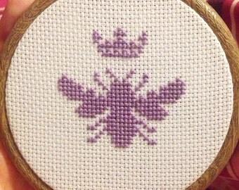Queen bee / bumble bee cross stitch in hoop