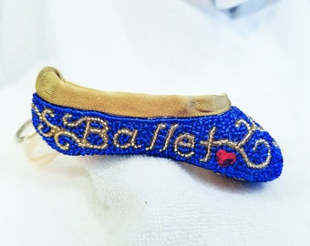 Beaded Pointe Shoe Keychain with Swarovski Crystal Heart