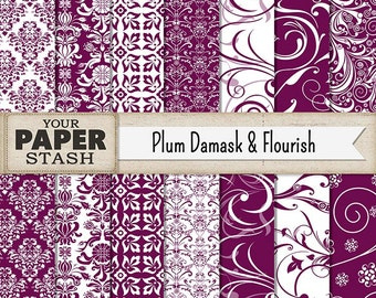 Damask Scrapbook Paper, Plum Damask, Plum Flourish, Scrapbook Paper, Digital Paper Pack, Burgundy Damask, Commercial Use, Instant Download