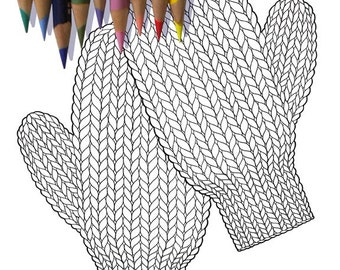 KNITTED MITTENS Coloring Page / Printable Coloring Page / Drawing of Knitting / Sepia Tone Coloring Page / Pdf Knitting Art