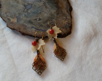CLEARANCE   Brass Drop Earrings with Shell Leaf Sawrovski Crystal PearlDrops  SALE