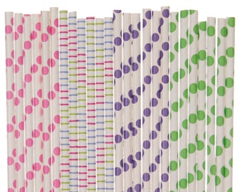 Paper Straw Mix, Hot Pink Lime Green Purple Polka Dot Striped Paper Straws, Spring Easter Straws, Garden Party, 1st Birthday, Baby Shower