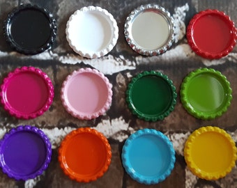 Colored flattened bottlecaps flat bottle caps  Set of 10 Hairbow centers Bottlecap images You choose color.