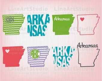 Arkansas SVG Collection State Files - SVG File- Monogram State - American States Svg Files - Svg Silhouette Files - Svg Cricut Files