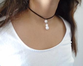 Danburite Choker necklace, Suede necklace, Gemstone choker necklace