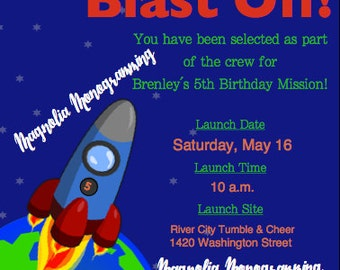 Rocket Ship Party Invitation