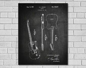 Fender Guitar Patent Print - Guitar Print - Guitar Art - Guitar Blueprint - Fender History - Patent - Historical Print - Patent Print MG227