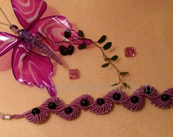 Woven pink macrame and Beads Bracelet
