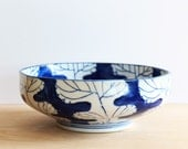 Blue and  White Patterned Ceramic Bowl from Japan | Blue and White Foliage Bowl| Blue and White Leaf Pattern Bowl